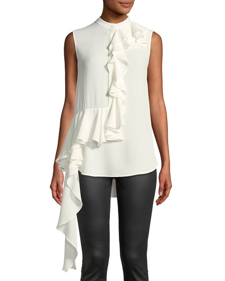 Alexander McQueen Mock-Neck Sleeveless Button-Front