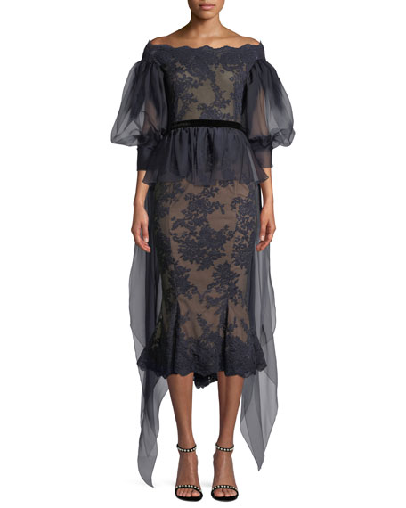 Marchesa Off-the-Shoulder Organza Balloon Sleeve Lace Blouse and