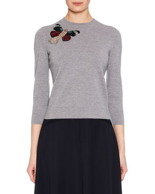 Alexander McQueen Crewneck 3 4-Sleeve Milano Wool Knit Sweater w  Moth  Embellishment 65822f9a8e201