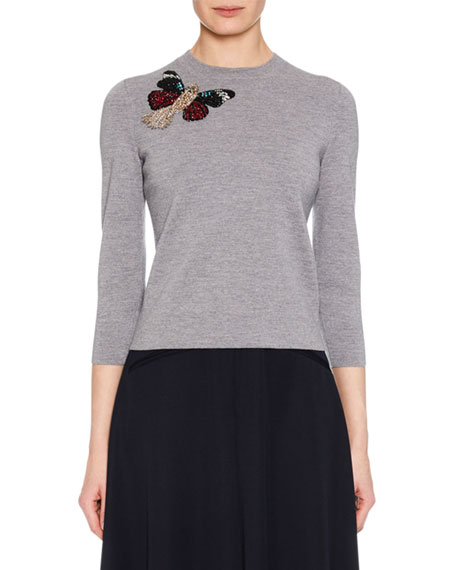 Alexander McQueen Crewneck 3/4-Sleeve Milano Wool Knit Sweater