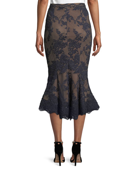 Lace Fit-and-Flare Pencil Skirt w/ Scallop Hem