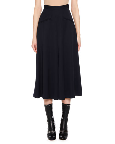 High-Waist Wide-Leg Grain de Poudre Wool Culotte Pants