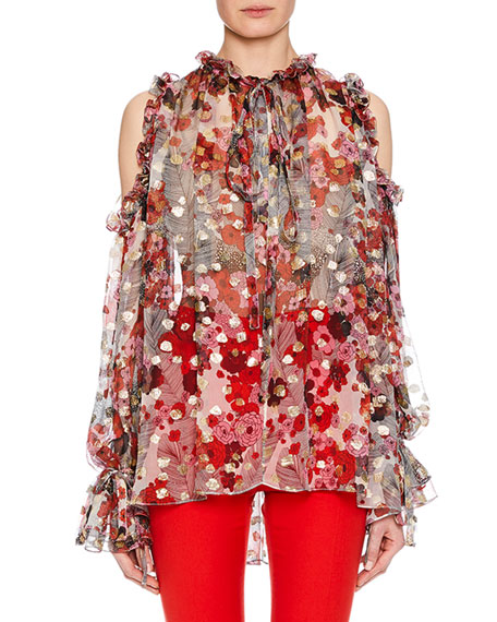 Alexander McQueen Tie-Neck Cold-Shoulder Feather-Flower Fil Coupe
