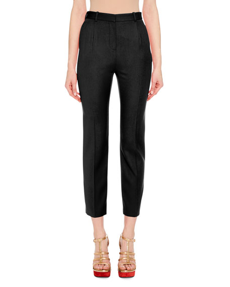 High-Waist Cigarette Crepe Ankle Pants