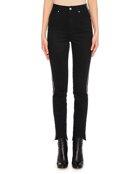 High-Waist Racer-Stripe Skinny Jeans with High-Low Cuff