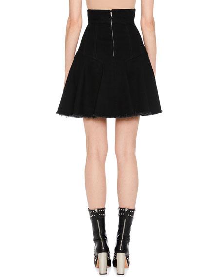Full A-Line Denim Mini Skirt w/ Raw-Edge Hem