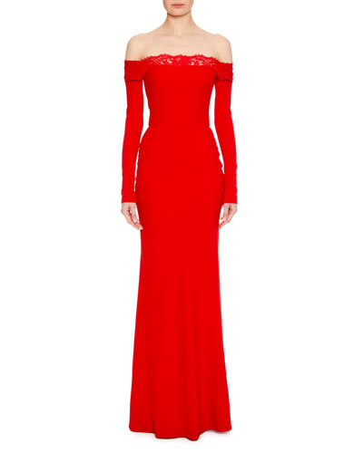 Off-the-Shoulder Long-Sleeve Column Evening Gown with Lace Inset