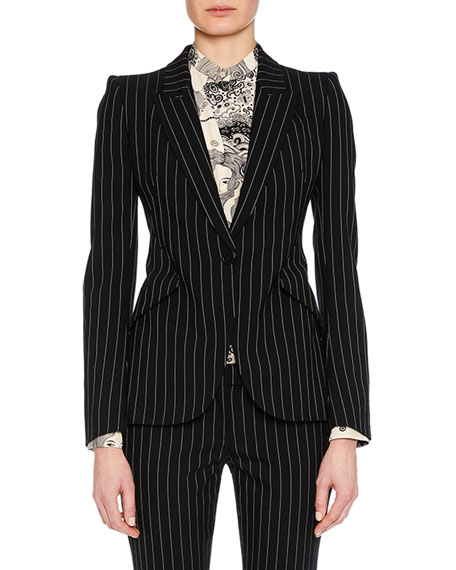 Peak-Lapel Single-Breasted Pinstripe Classic Blazer