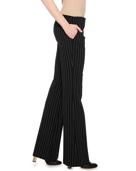 Flat-Front Pinstripe Bootleg Pants