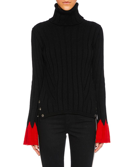 Alexander McQueen Turtleneck Long-Sleeve Contrast-Cuff Wool Knit