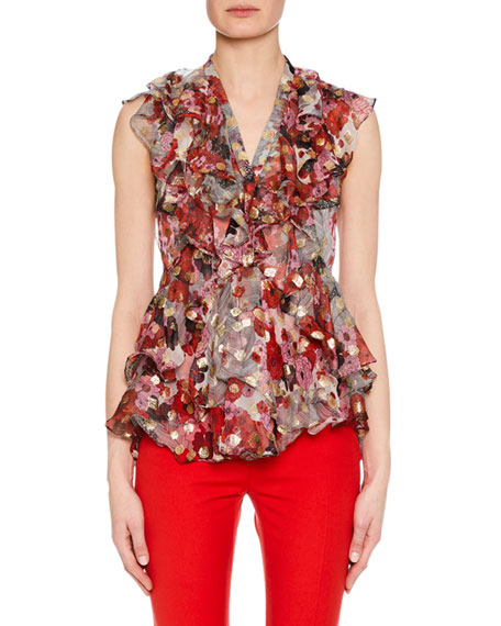 Sleeveless Feather Fil-Coupe Ruffled Blouse