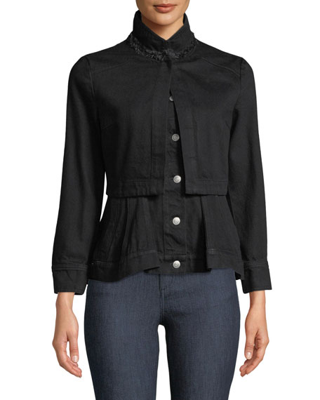 Button-Front Long-Sleeve Layered Denim Jacket