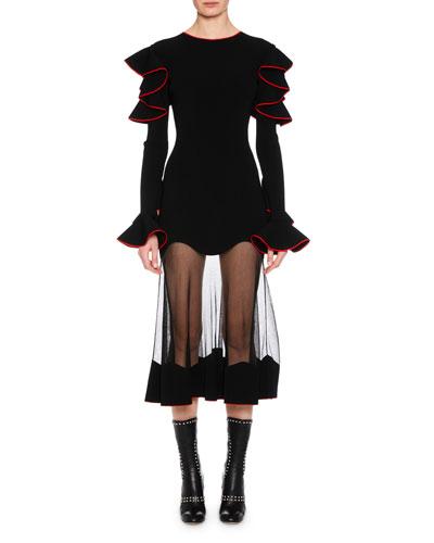 Long-Sleeve Shoulder-Ruffle Cocktail Dress with Sheer Hem Skirt