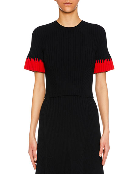 Jewel-Neck Short-Sleeve Ribbed Top W/ Contrast Tips in Black