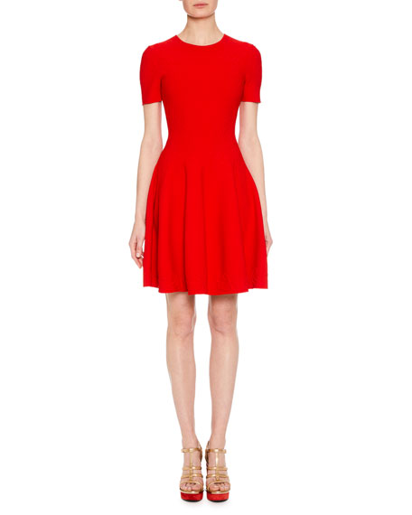 Short-Sleeve Fit-And-Flare Floral-Embossed Short Dress in Red
