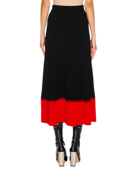 A-Line Long Ribbed Skirt w/ Contrast Tip