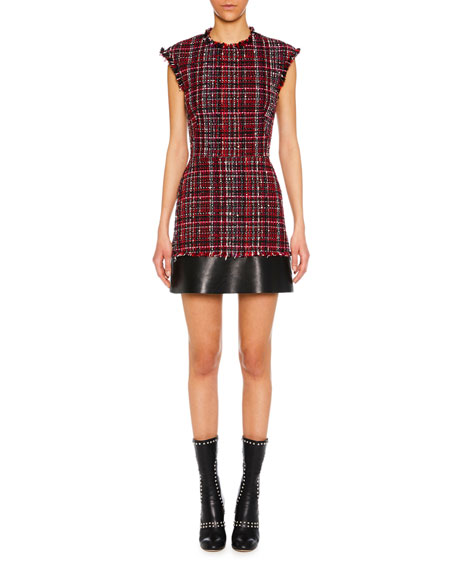 Cap-Sleeve Tweed Short Dress with Leather Trim