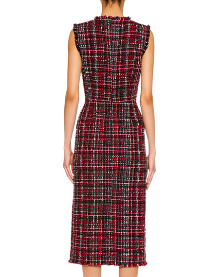 Sleeveless Tweed Slit-Front Midi Pencil Dress