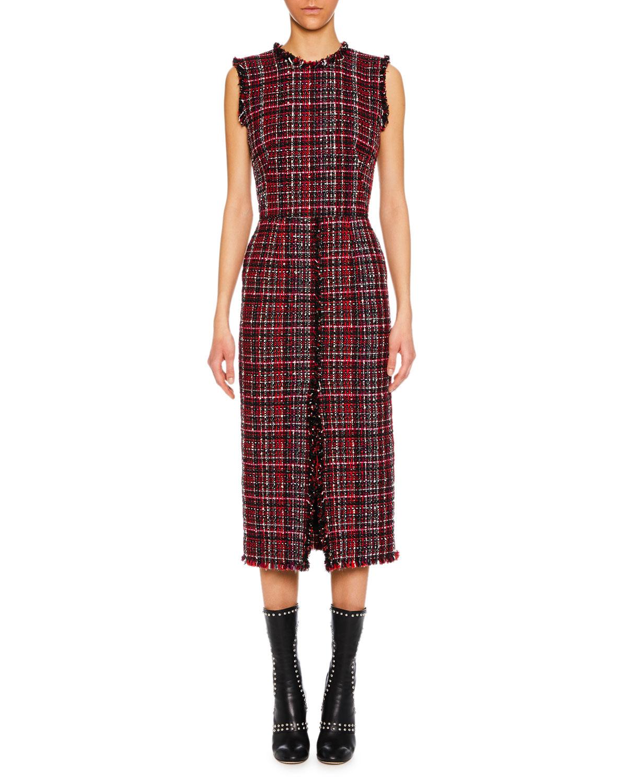f244a0e050d Alexander McQueen Sleeveless Tweed Slit-Front Midi Pencil Dress ...