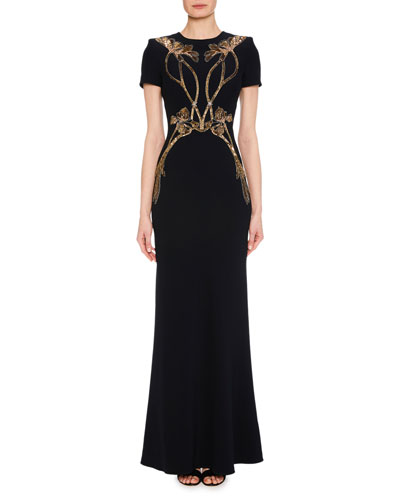 Short-Sleeve A-Line Evening Gown with Sequin Orchid Embroidery