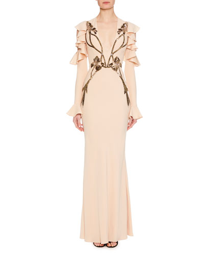 Deep-V Long-Sleeve Orchid-Embroidered Column Evening Gown