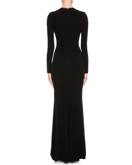 Long-Sleeve Column Evening Gown with Lace-Inset