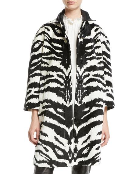 Button-Front Zebra-Print Velvet Jacquard Caban Jacket