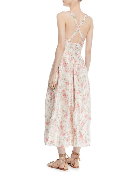 Daphne Scoop-Neck Sleeveless Cherry Blossom-Print Long Dress