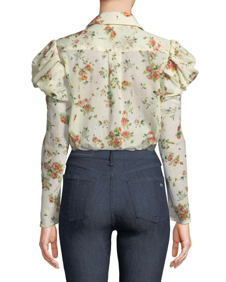 Tanner Button-Front Voluminous-Sleeve Rose-Print Cotton Blouse