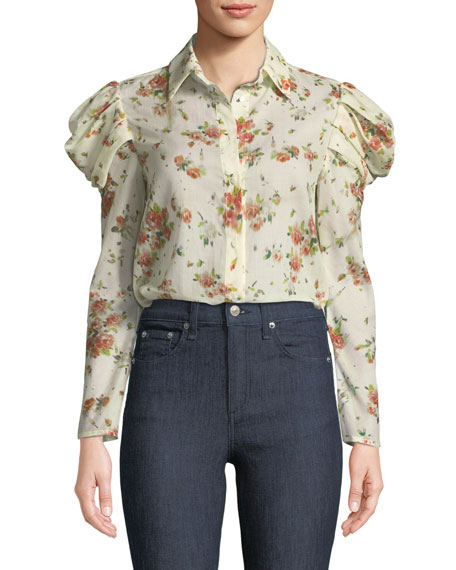 Brock Collection Tanner Button-Front Voluminous-Sleeve Rose-Print