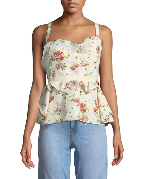 Rose-Print Layered Corset Tank w/ Lace-Up Back