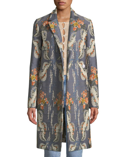 Chandler Notched-Collar Striped Floral-Jacquard Coat