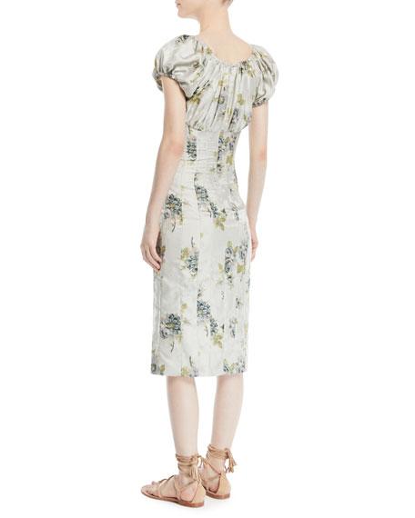 Dayna Short-Sleeve Peony Floral-Jacquard Sheath Dress