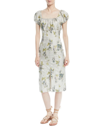 Dayna Short-Sleeve Peony Floral-Jacquard Sheath Dress