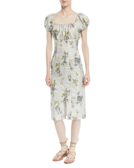 Brock Collection Dayna Short-Sleeve Peony Floral-Jacquard Sheath