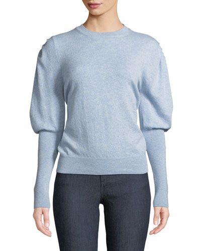 Crewneck Puff-Sleeve Cashmere Sweater