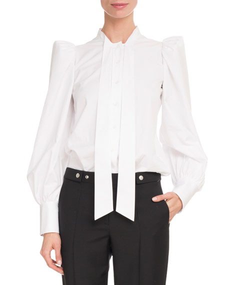 Long-Sleeve Strong-Shoulder Cotton Poplin Blouse