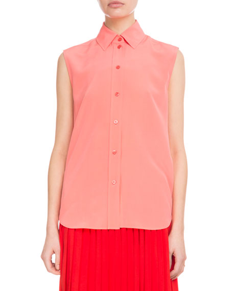 Sleeveless Button-Front Silk Crepe de Chine Blouse