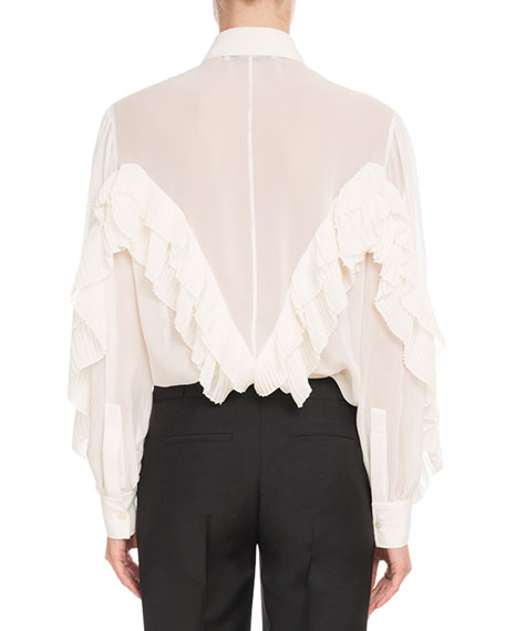 Long-Sleeve Button-Front Silk Georgette Blouse w/ Ruffle Detail