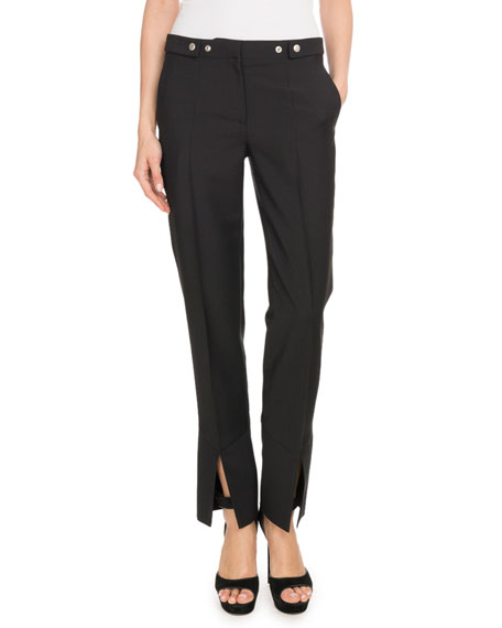 Givenchy Straight-Leg Mohair-Wool Pants w/ Slit Cuff