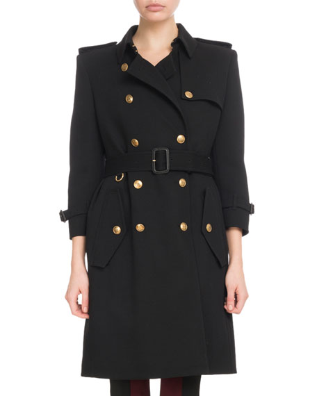 Givenchy Double-Breasted Heavy Wool Crepe Trench Coat and