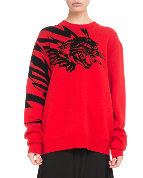 CREWNECK LONG-SLEEVE TIGER-PRINT JACQUARD SWEATER