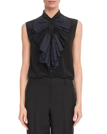 Givenchy Sleeveless Silk-Crepe Blouse w/ Contrast Ruffle and