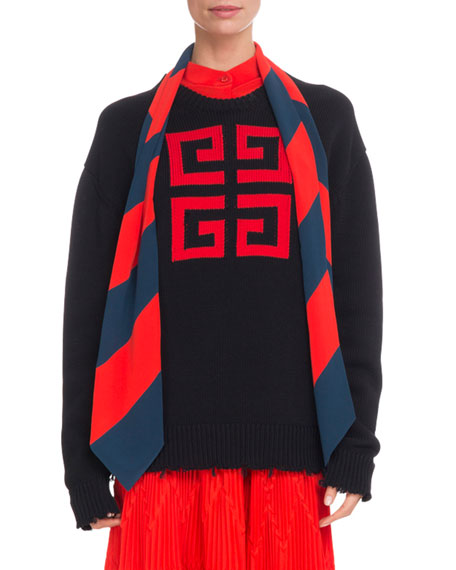 4-G Logo Long-Sleeve Cotton Sweater, Blue/Red from Al Duca d'Aosta
