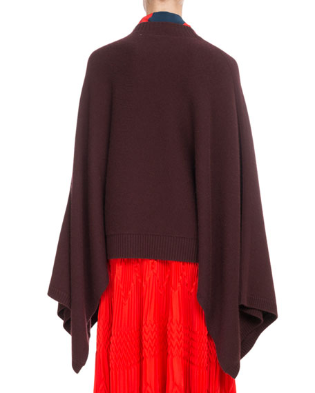 Oversized Cashmere Cape-Sleeve Sweater w/ Small 4G Logo