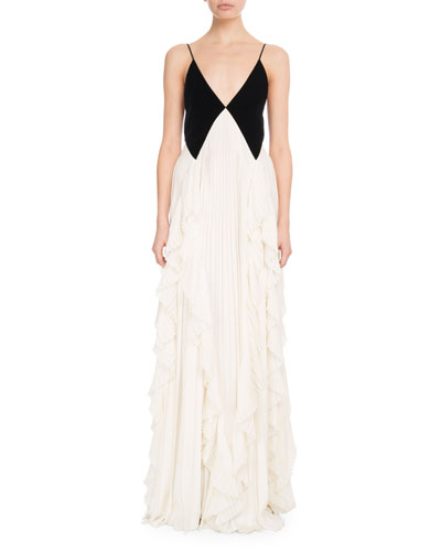 Sleeveless Contrast V-Neck Pleated Gown