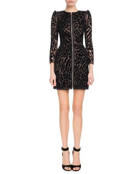 Givenchy Chantilly Lace Leopard Zip-Front Dress