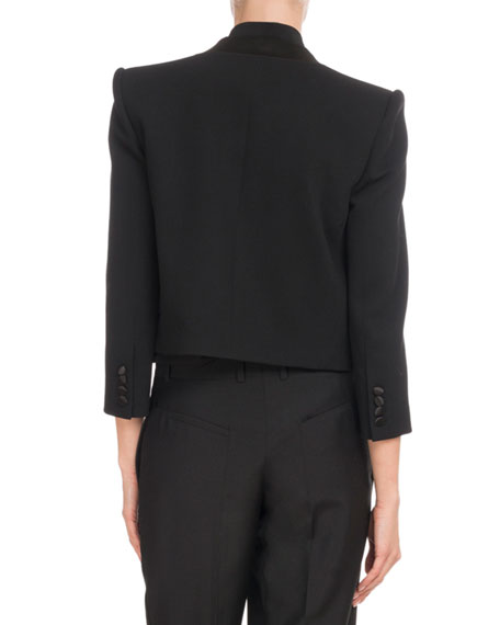 Long-Sleeve Crop Wool-Crepe Jacket w/ Satin Lapel
