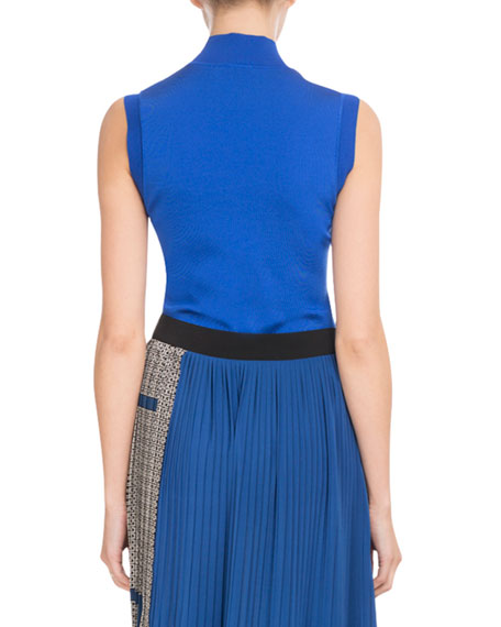 Sleeveless Turtleneck Viscose Knit Top