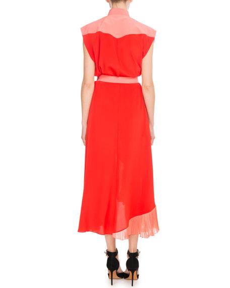Short-Sleeve Snap-Front Colorblock Crepe de Chine Mid-Calf Dress